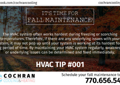SRS Portfolio - Facebook Graphics: Cochran Cooling & Heating wall post #1