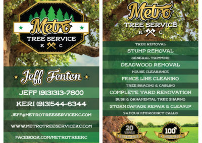 SRS Portfolio - Business Cards: Metro Tree Service